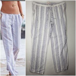 Victoria's Secret Linen Beach Pants Sz 8 Striped